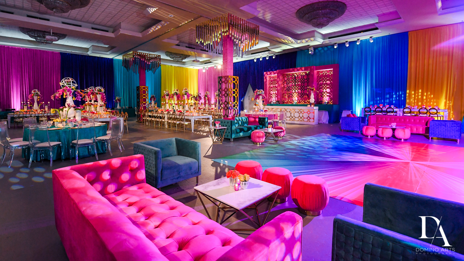 room at Colorful Rainbow BurstBat Mitzvah at Aventura Turnberry Jewish Center by Domino Arts Photography