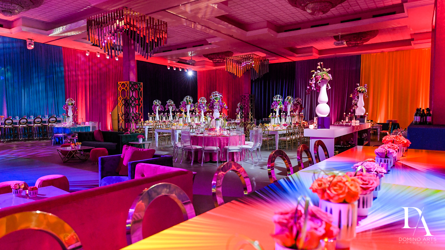 luxury decor at Colorful Rainbow BurstBat Mitzvah at Aventura Turnberry Jewish Center by Domino Arts Photography