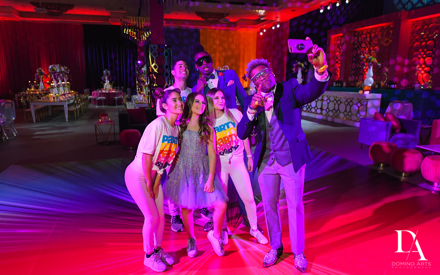 Selfie with Triple P Entertainment at Colorful Rainbow BurstBat Mitzvah at Aventura Turnberry Jewish Center by Domino Arts Photography