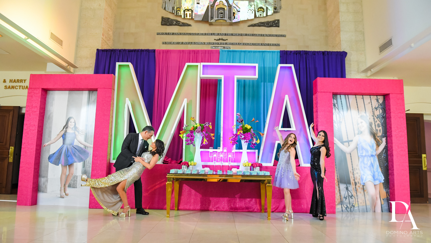 family fun at Colorful Rainbow BurstBat Mitzvah at Aventura Turnberry Jewish Center by Domino Arts Photography