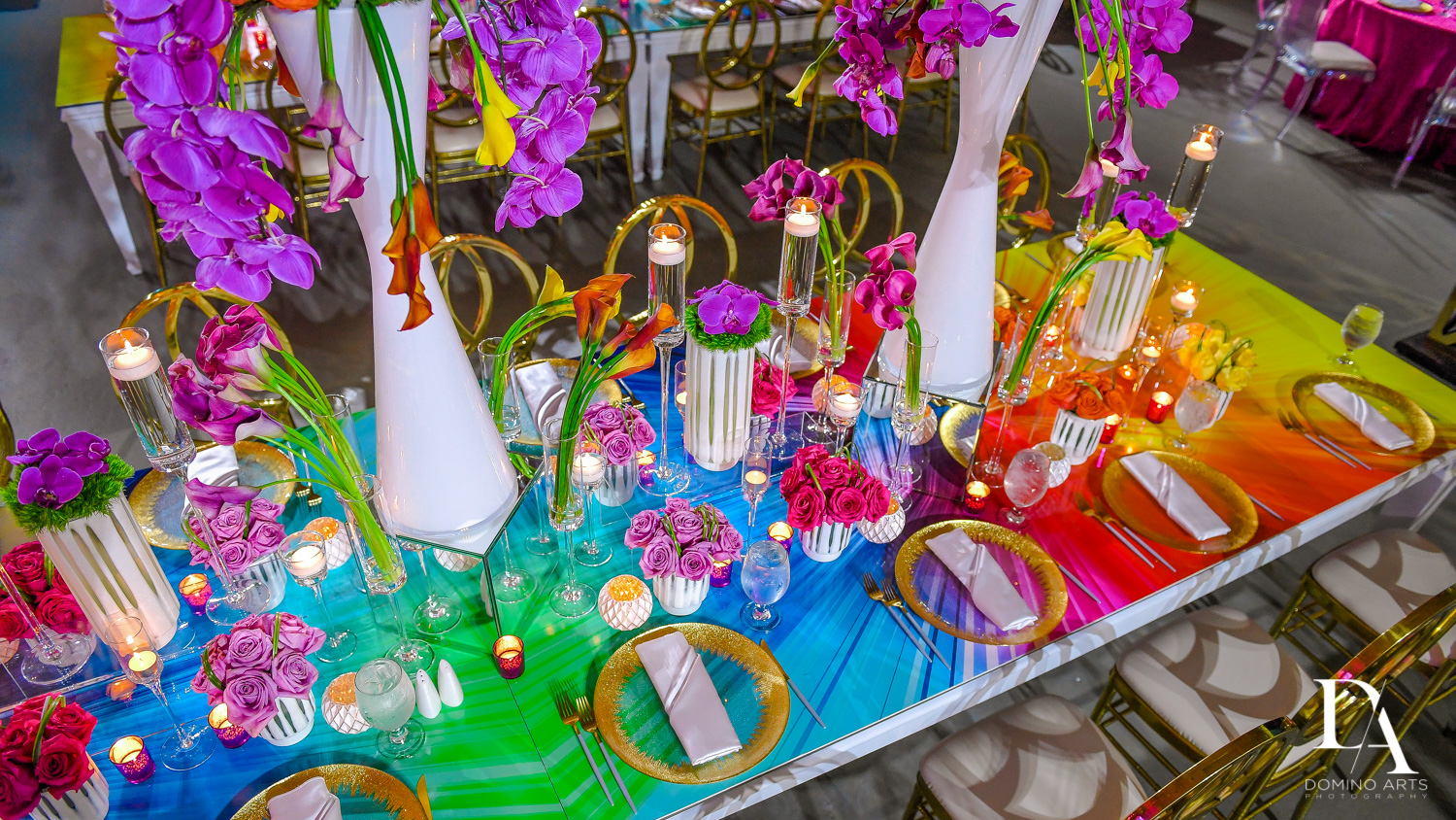 unique table at Colorful Rainbow BurstBat Mitzvah at Aventura Turnberry Jewish Center by Domino Arts Photography