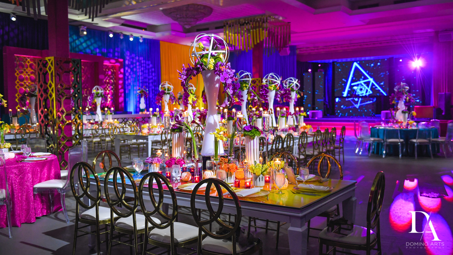 amazing table settings at Colorful Rainbow BurstBat Mitzvah at Aventura Turnberry Jewish Center by Domino Arts Photography