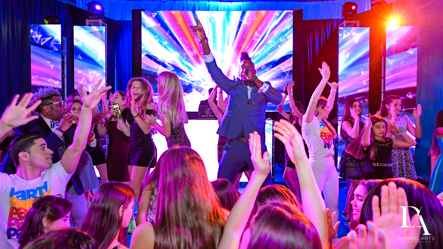 DJ Juice at Colorful Rainbow BurstBat Mitzvah at Aventura Turnberry Jewish Center by Domino Arts Photography