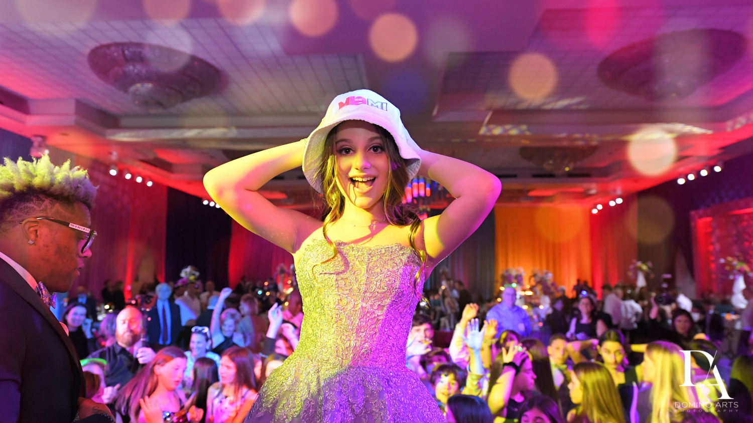 bucket hats at Colorful Rainbow BurstBat Mitzvah at Aventura Turnberry Jewish Center by Domino Arts Photography