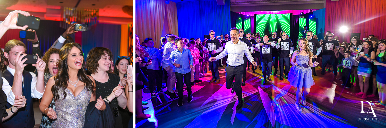 awesome choreographed parent dance at Colorful Rainbow BurstBat Mitzvah at Aventura Turnberry Jewish Center by Domino Arts Photography