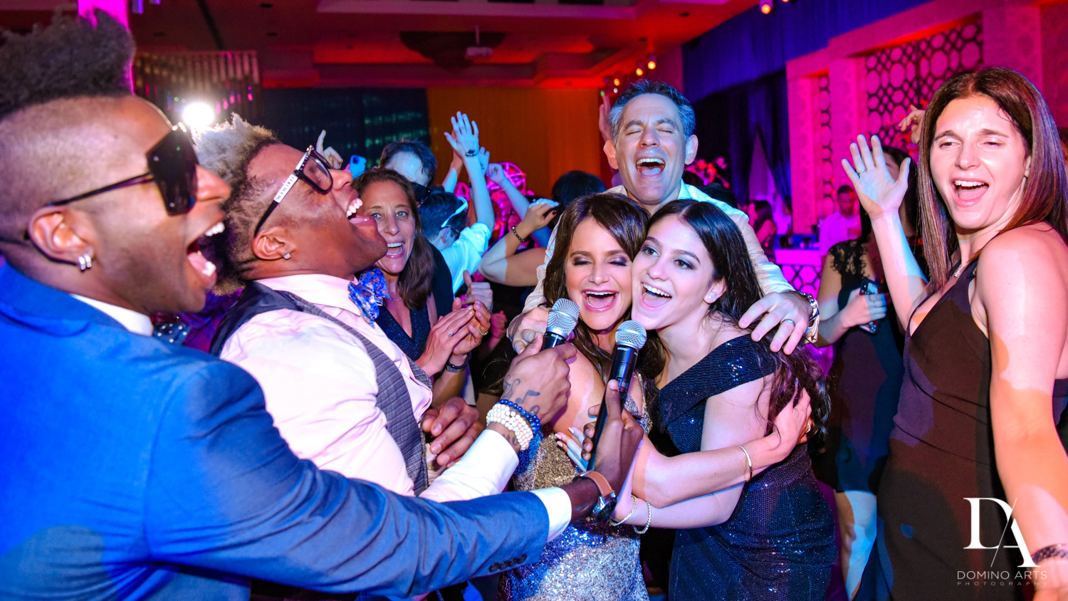 best entertainers at Colorful Rainbow BurstBat Mitzvah at Aventura Turnberry Jewish Center by Domino Arts Photography