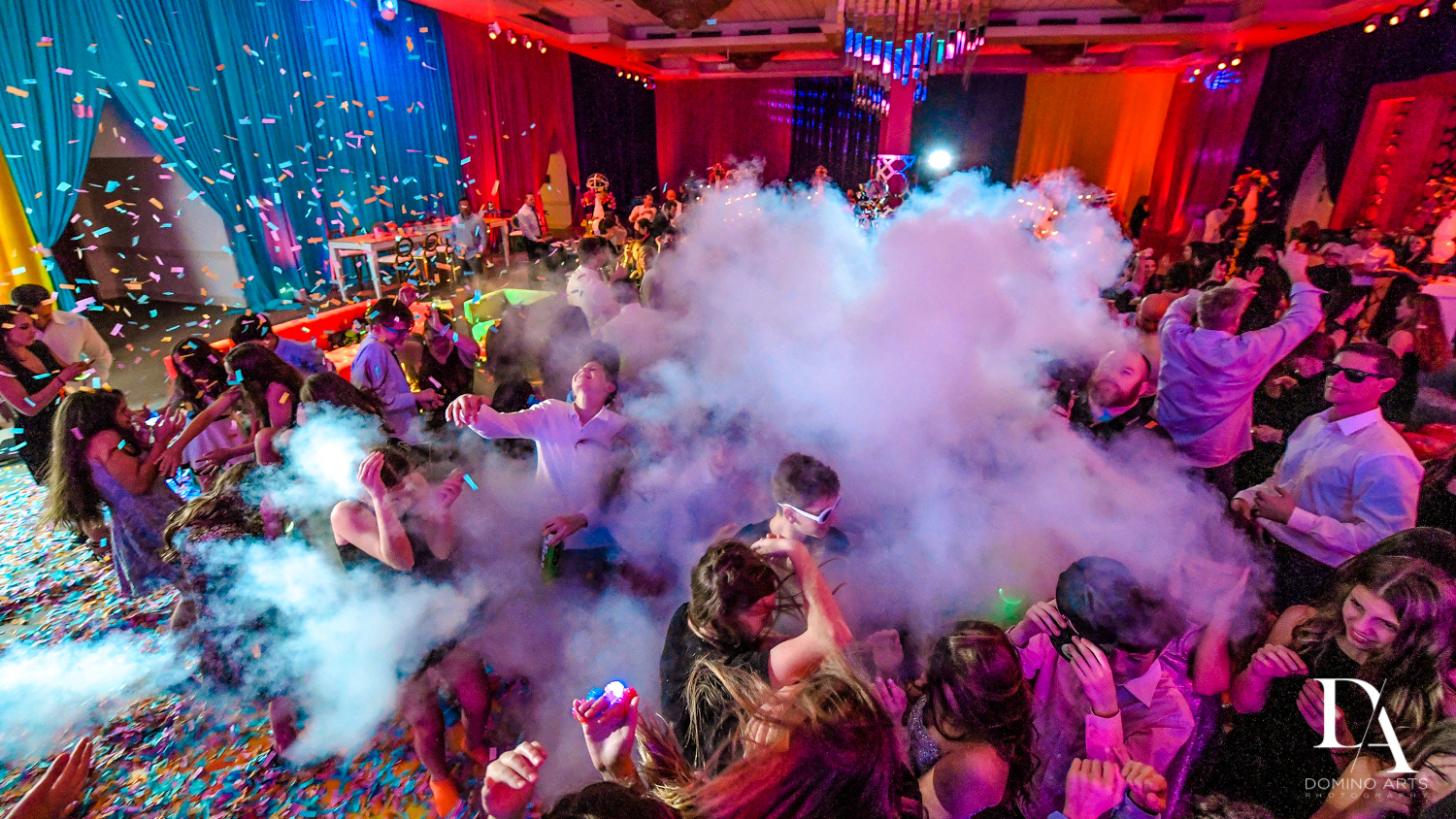 pary smoke at Colorful Rainbow BurstBat Mitzvah at Aventura Turnberry Jewish Center by Domino Arts Photography
