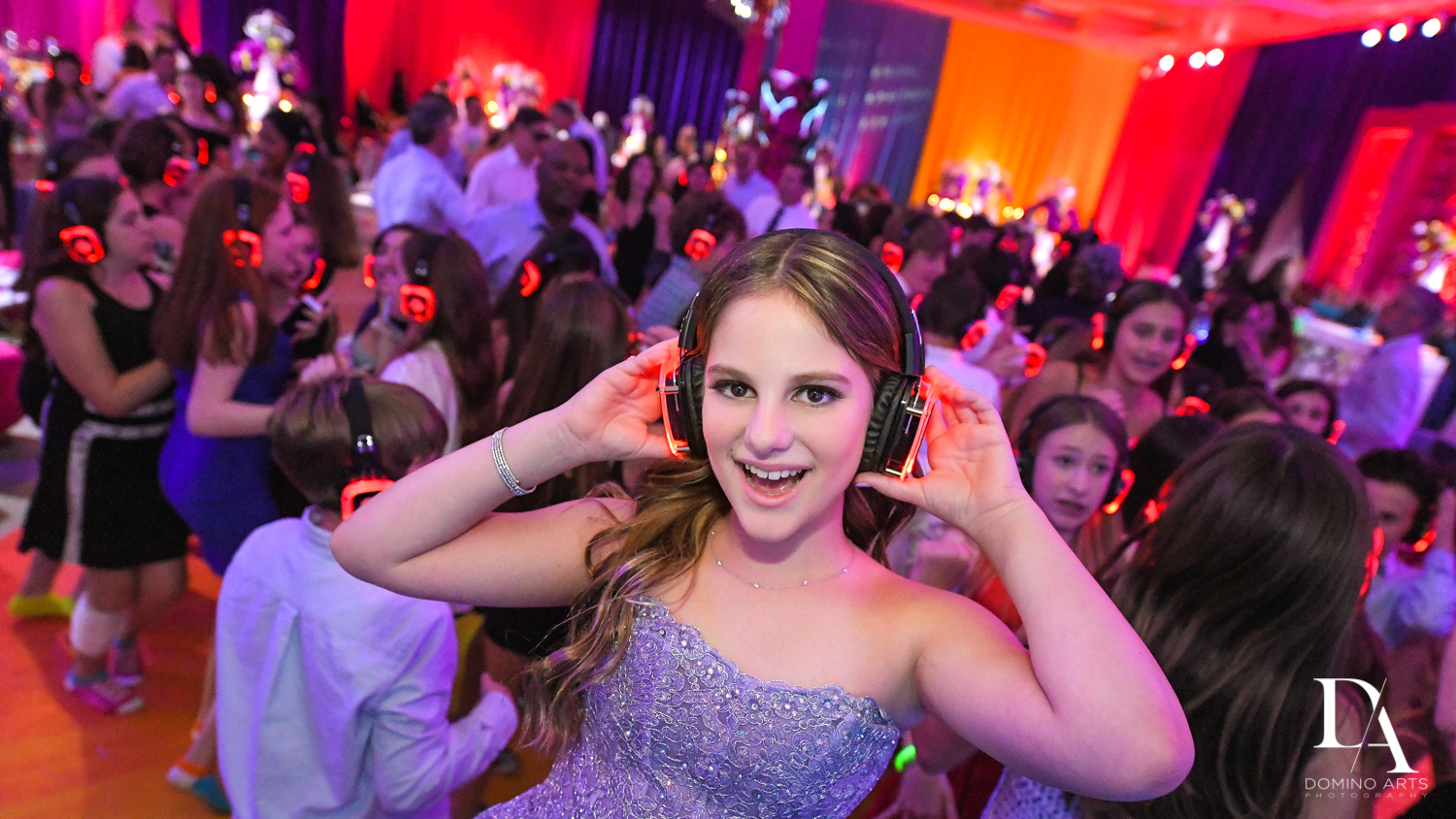 silent party at Colorful Rainbow BurstBat Mitzvah at Aventura Turnberry Jewish Center by Domino Arts Photography
