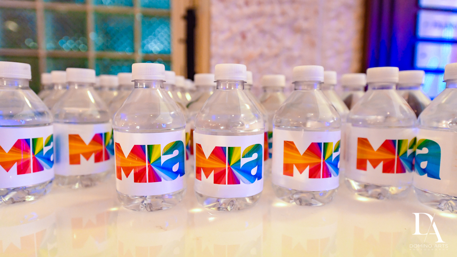 cute custom water bottles at Colorful Rainbow BurstBat Mitzvah at Aventura Turnberry Jewish Center by Domino Arts Photography