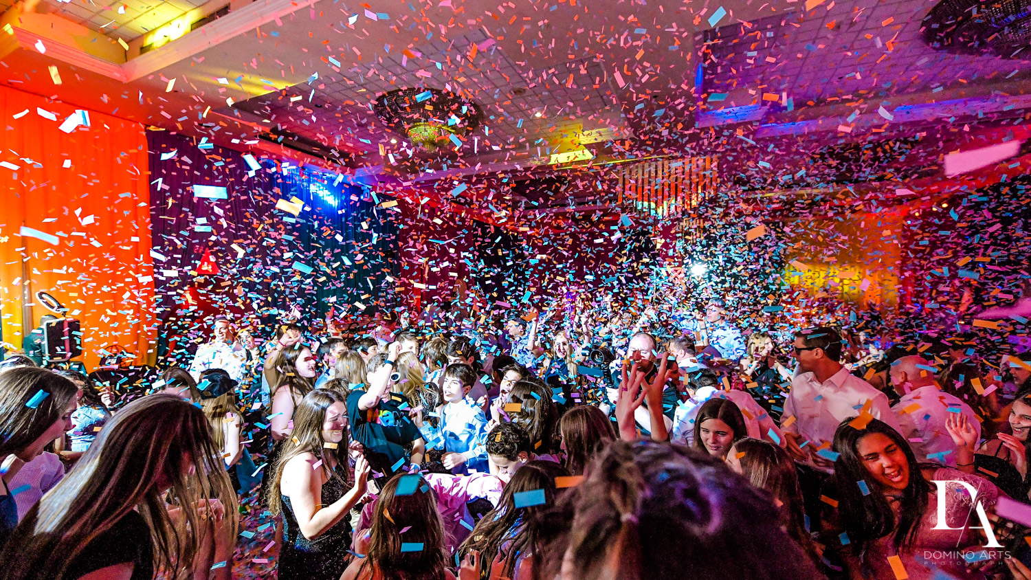 best confetti blast at Colorful Rainbow BurstBat Mitzvah at Aventura Turnberry Jewish Center by Domino Arts Photography