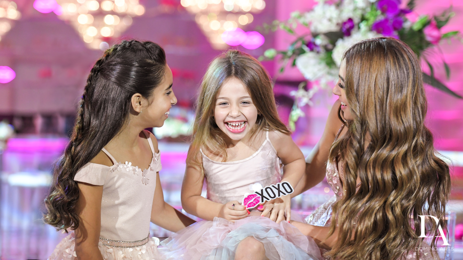 siblings at Pink XO Bat Mitzvah at The Venue Crystal Ballroom by Domino Arts Photography