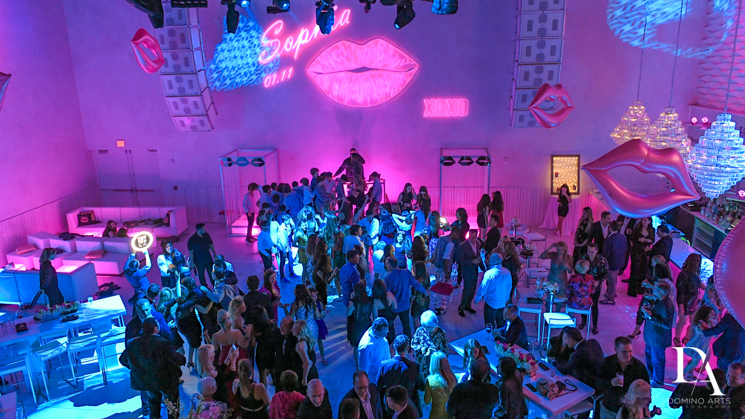 neon party at Pink XO Bat Mitzvah at The Venue Crystal Ballroom by Domino Arts Photography
