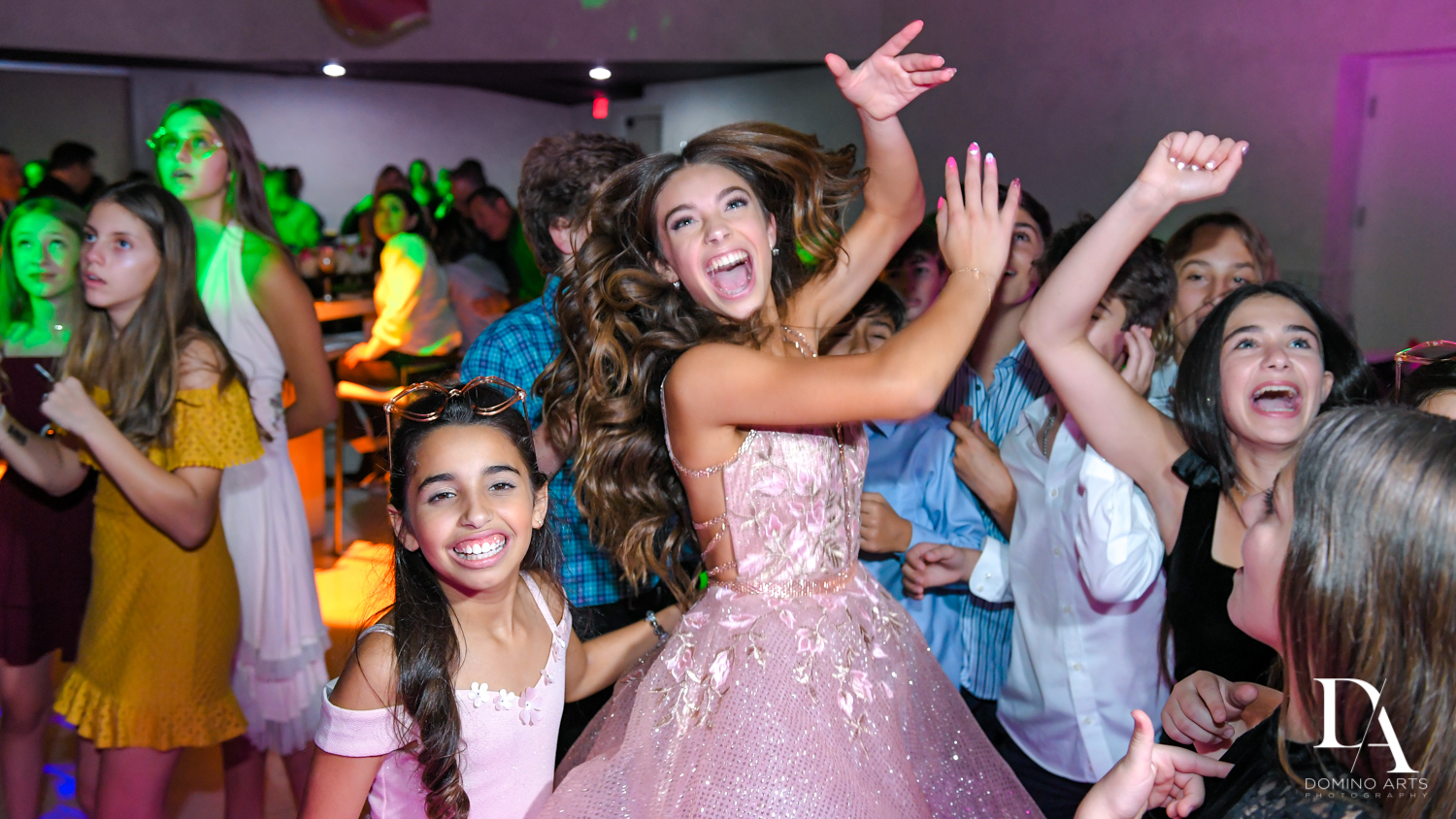 dancing at Pink XO Bat Mitzvah at The Venue Crystal Ballroom by Domino Arts Photography