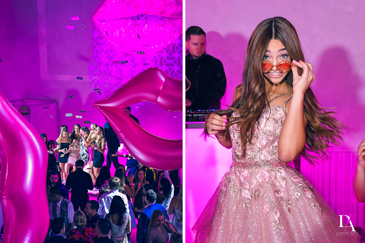 party pictures at Pink XO Bat Mitzvah at The Venue Crystal Ballroom by Domino Arts Photography