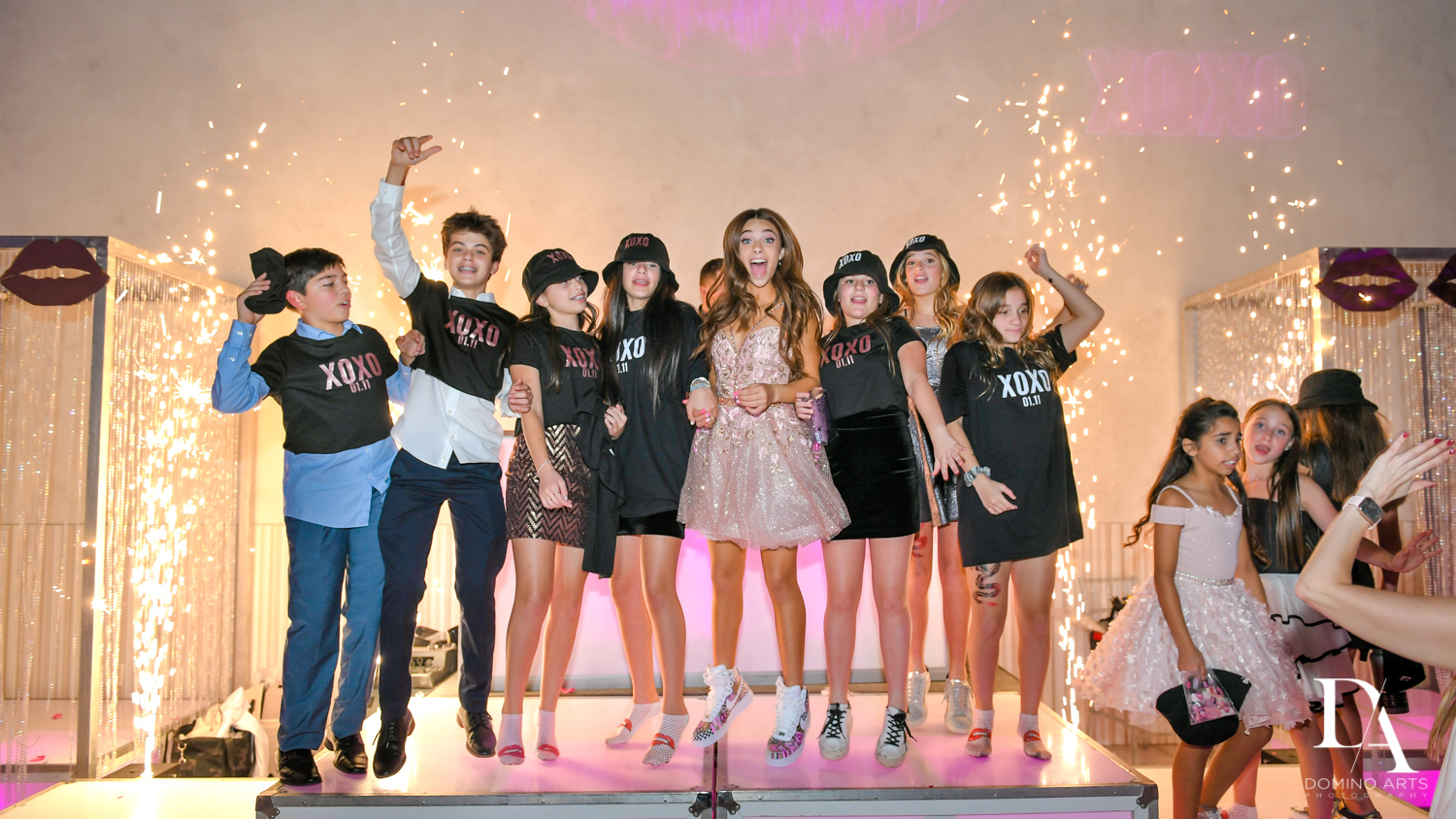 kids having fun at Pink XO Bat Mitzvah at The Venue Crystal Ballroom by Domino Arts Photography