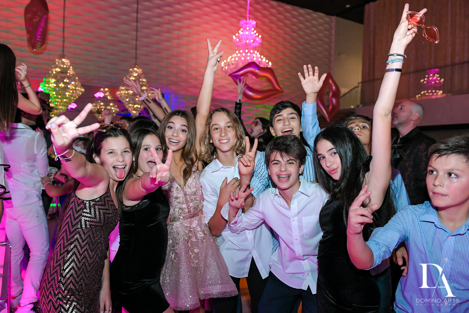 friends paryt at Pink XO Bat Mitzvah at The Venue Crystal Ballroom by Domino Arts Photography