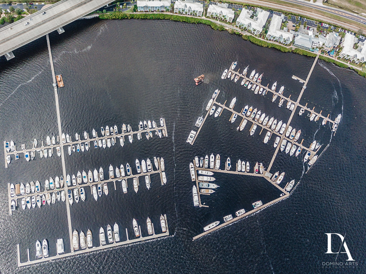 aerial view of Harborage Yacht Club & Marina by Domino Arts Photography