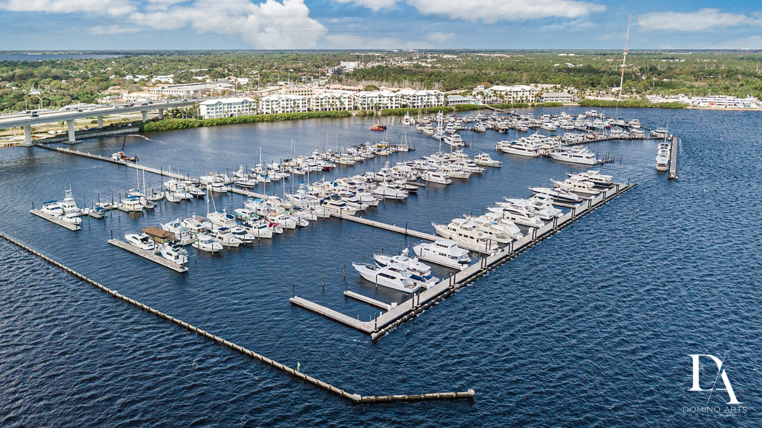 aerial view at Harborage Yacht Club & Marina by Domino Arts Photography