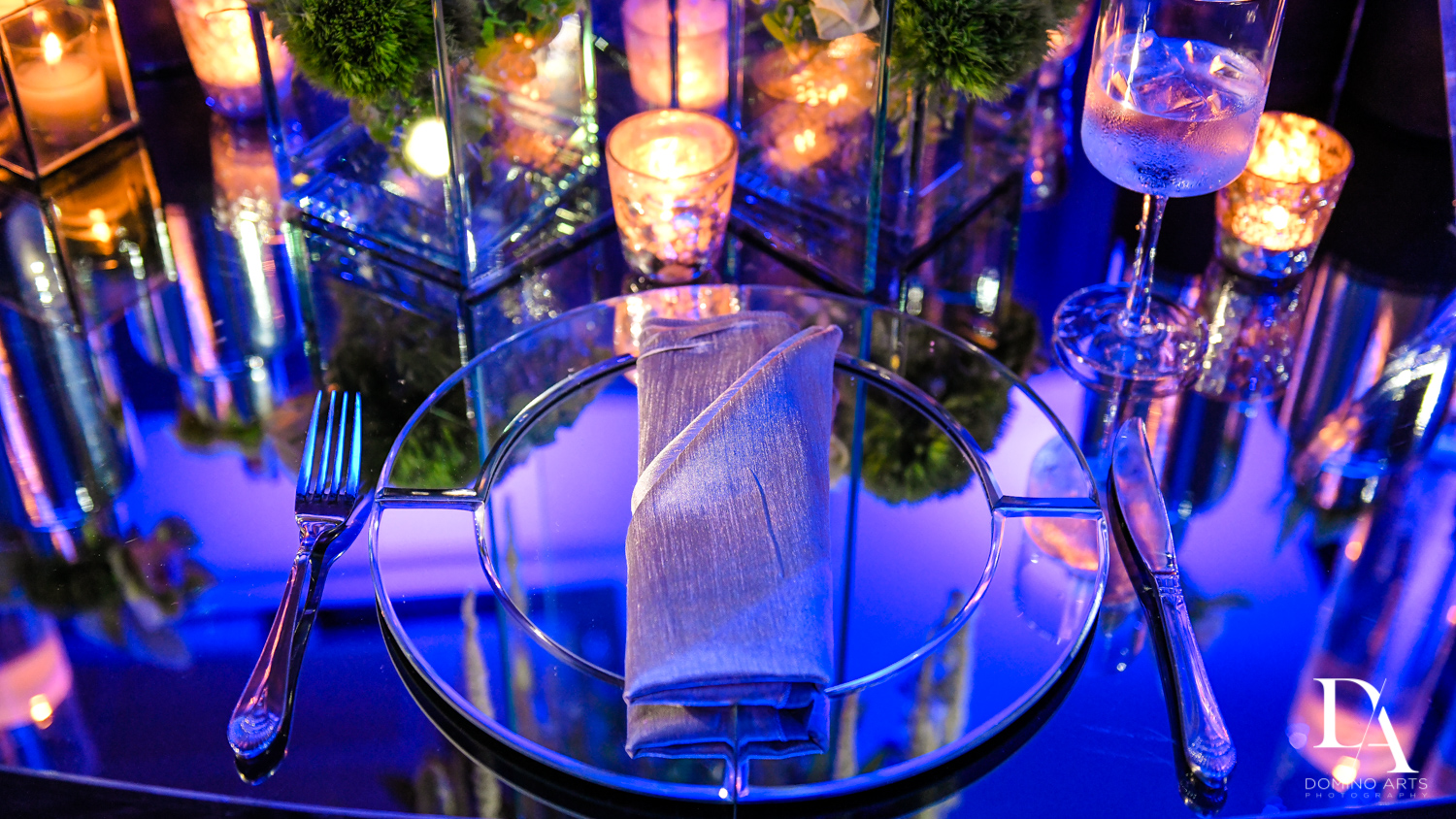 beautiful table setting at Modern All Blue Decor Bar Mitzvah at Temple Beth Am Pinecrest by Domino Arts Photography
