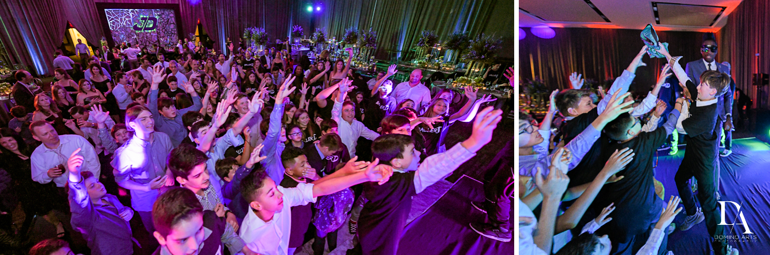 fun crowd at Modern All Blue Decor Bar Mitzvah at Temple Beth Am Pinecrest by Domino Arts Photography