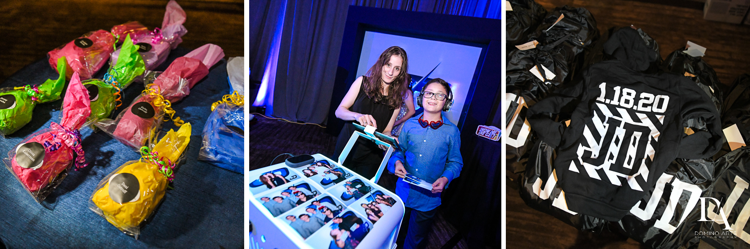 fun party favors at Modern All Blue Decor Bar Mitzvah at Temple Beth Am Pinecrest by Domino Arts Photography