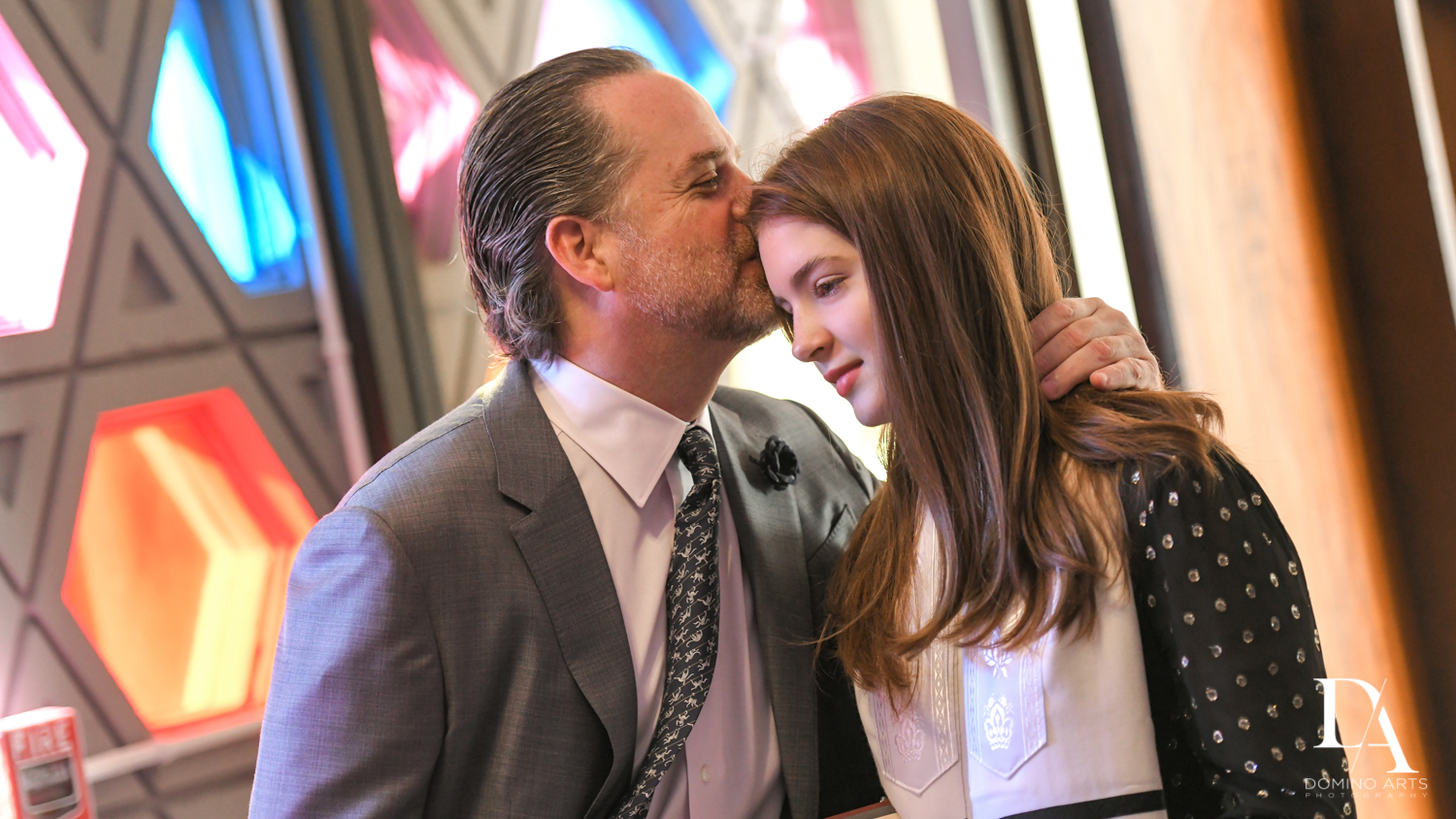 dad and daughter at Music Festival Bat Mitzvah at The Fillmore Miami Beach by Domino Arts Photography