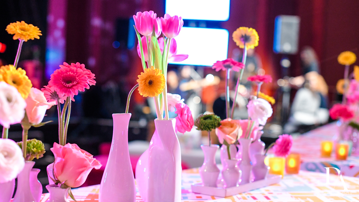 modern fun flowers at Music Festival Bat Mitzvah at The Fillmore Miami Beach by Domino Arts Photography