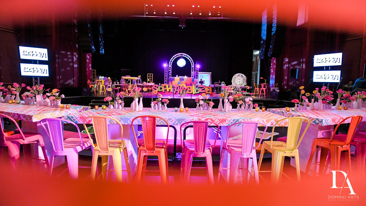 colorful decor at Music Festival Bat Mitzvah at The Fillmore Miami Beach by Domino Arts Photography
