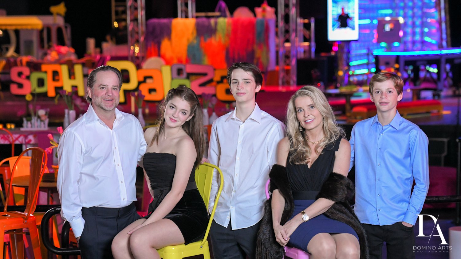 family photo at Music Festival Bat Mitzvah at The Fillmore Miami Beach by Domino Arts Photography