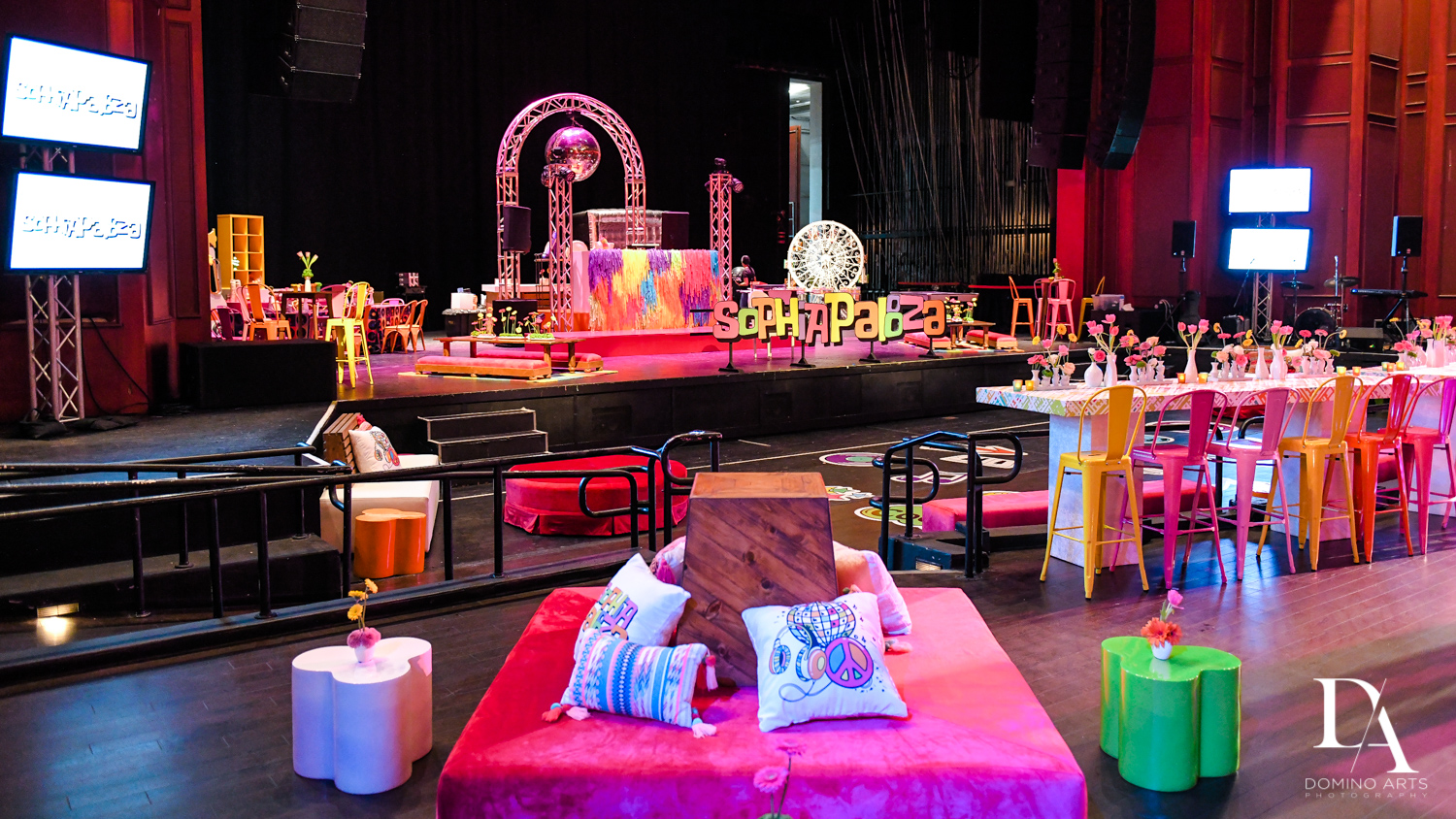 luxury colorful decor at Music Festival Bat Mitzvah at The Fillmore Miami Beach by Domino Arts Photography