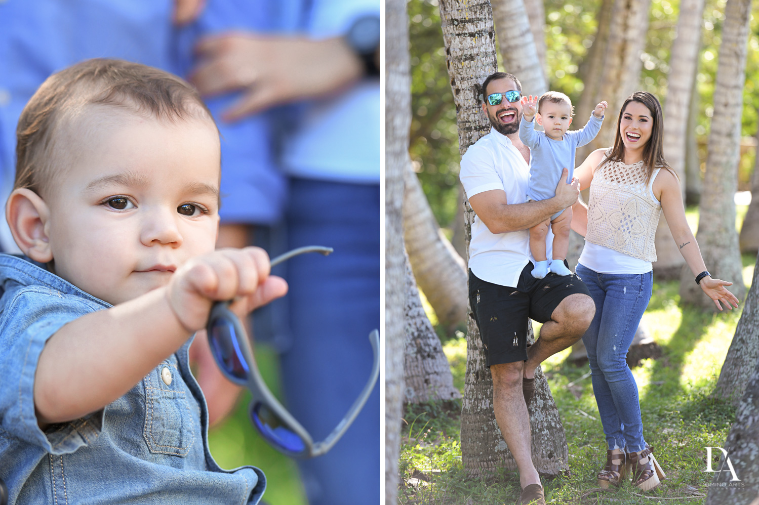 cute family at Urban baby Photo Session in Coral Gables by Domino Arts Photography