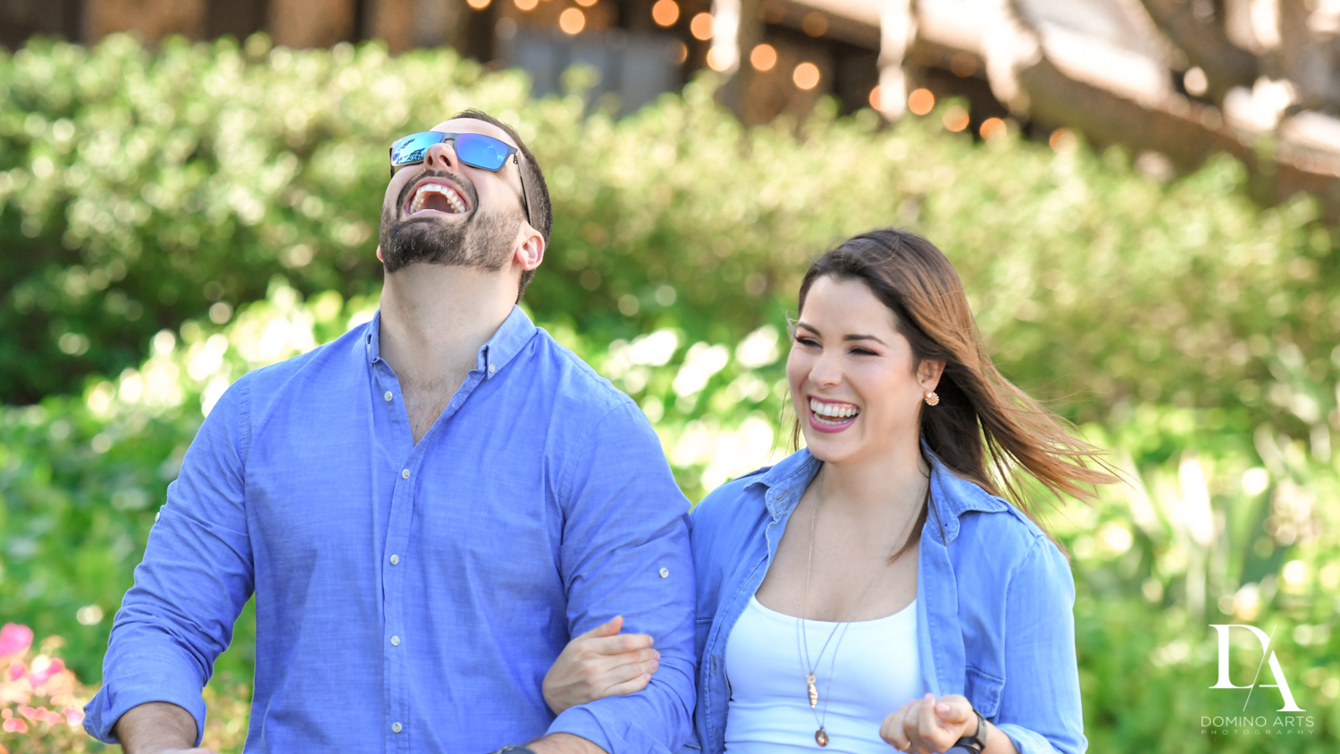 happy couple at Urban baby Photo Session in Coral Gables by Domino Arts Photography