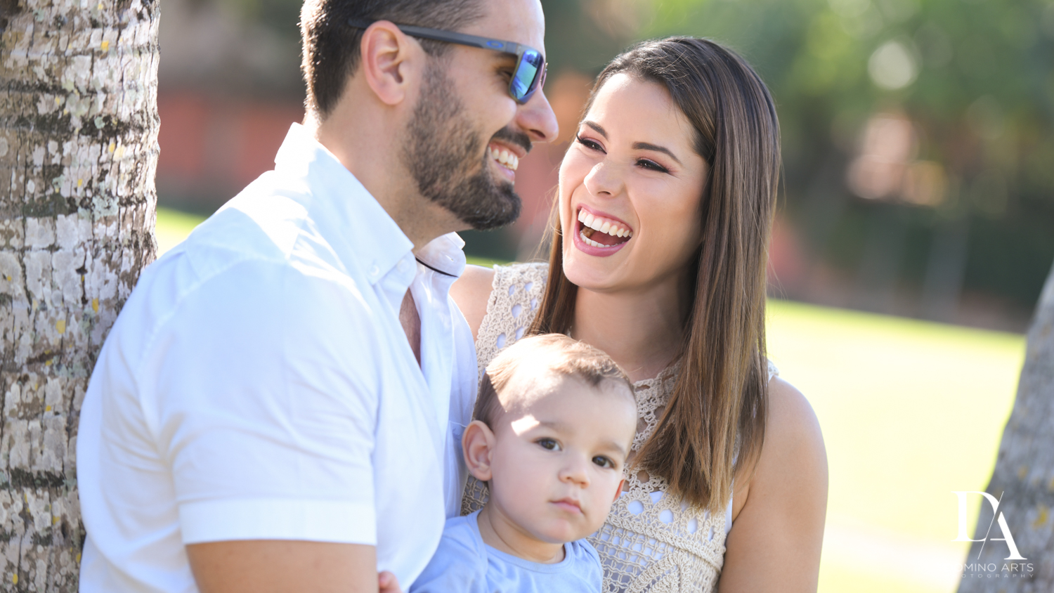 happy family portraits at Urban baby Photo Session in Coral Gables by Domino Arts Photography