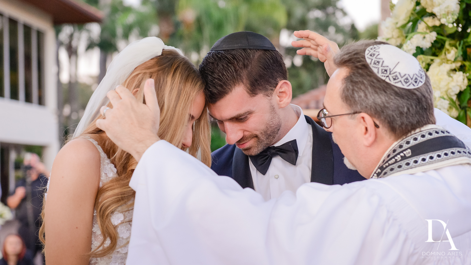 jewish blessing at Sunset Wedding at Boca Rio Golf Club by Domino Arts Photography