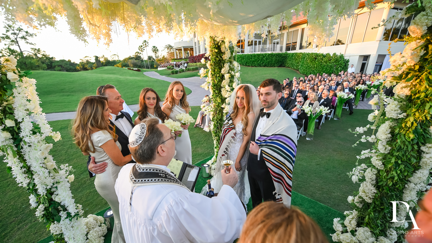 rabbi at Sunset Wedding at Boca Rio Golf Club by Domino Arts Photography