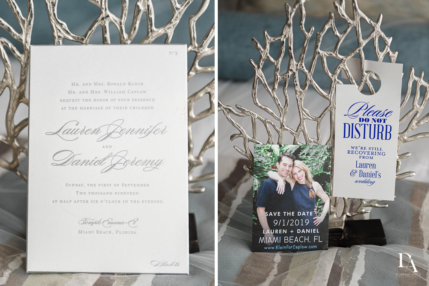 wedding invitations Tropical Luxury Jewish Wedding in Miami Beach by Domino Arts Photography