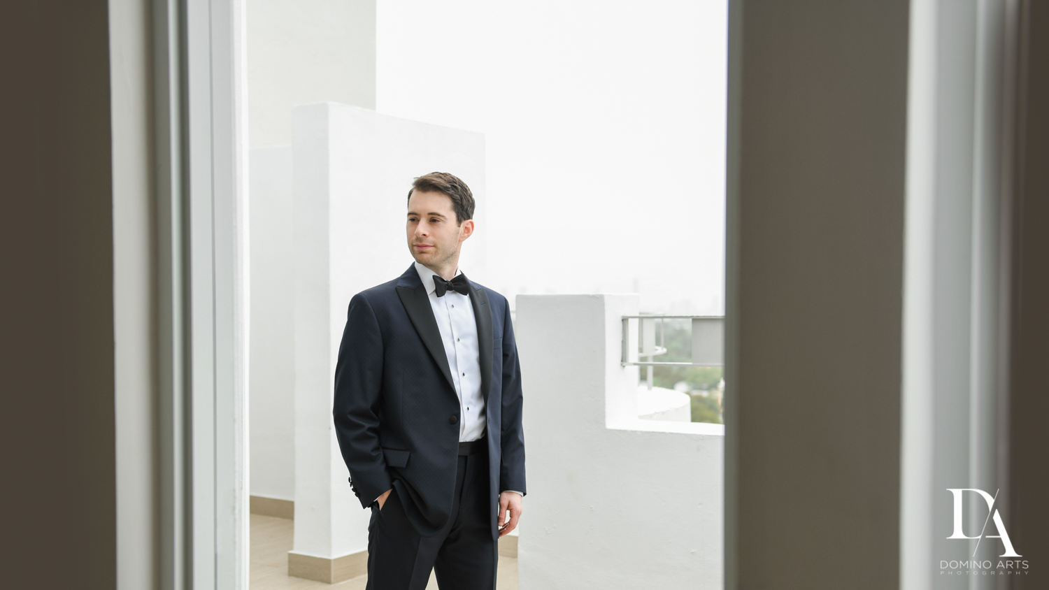 groom at Tropical Luxury Jewish Wedding in Miami Beach by Domino Arts Photography