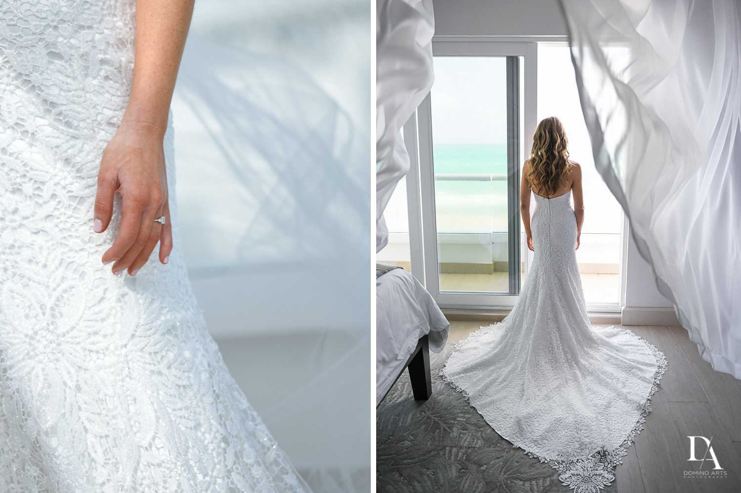 wedding dress at Tropical Luxury Jewish Wedding in Miami Beach by Domino Arts Photography