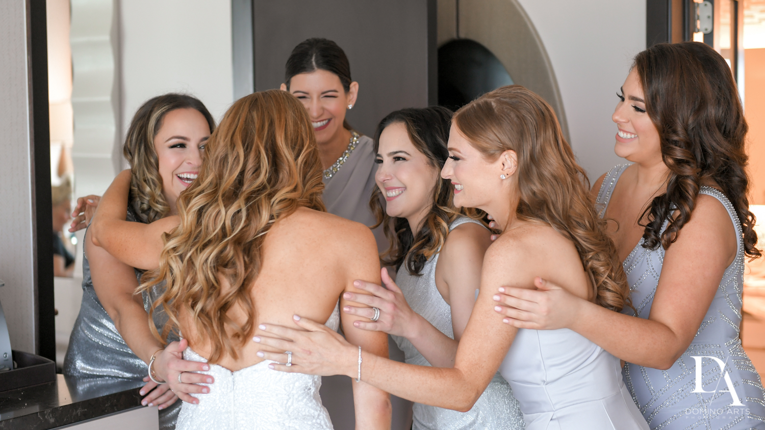 bridesmaids at Tropical Luxury Jewish Wedding in Miami Beach by Domino Arts Photography