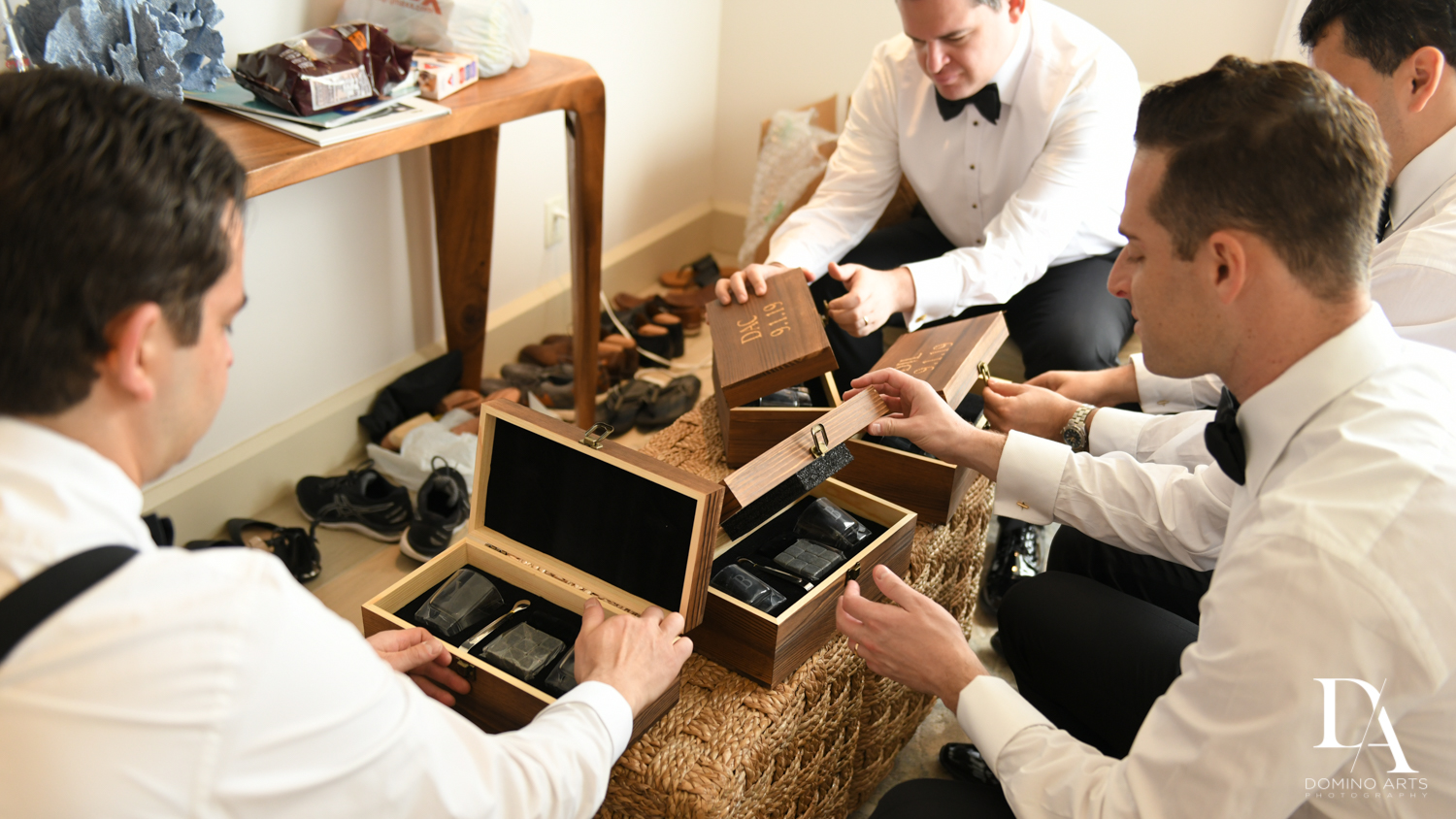 grooms gifts at Tropical Luxury Jewish Wedding in Miami Beach by Domino Arts Photography
