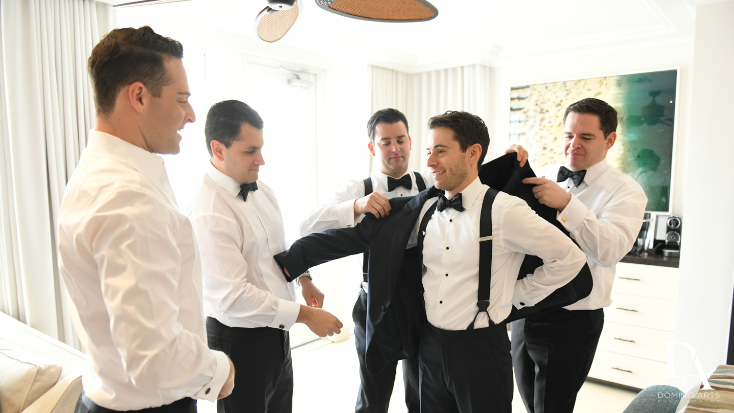 groom getting ready at Tropical Luxury Jewish Wedding in Miami Beach by Domino Arts Photography