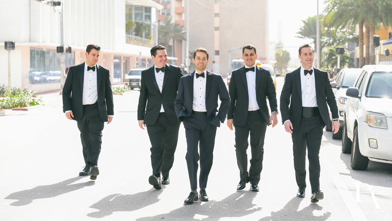 groomsmen at Tropical Luxury Wedding at Temple Emmanu-El in Miami Beach