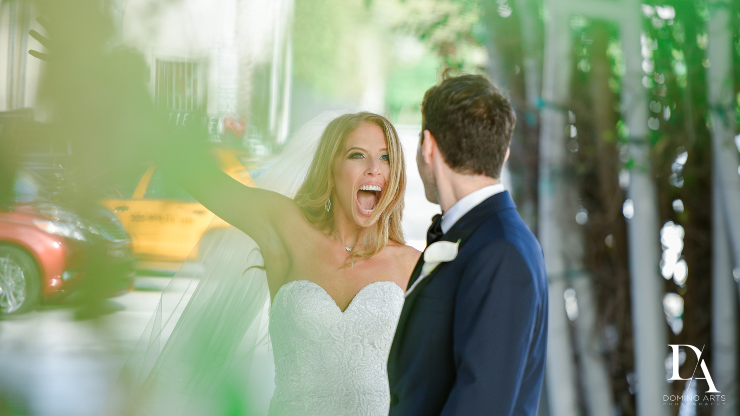 exciting first look at Tropical Luxury Wedding at Temple Emmanu-El in Miami Beach