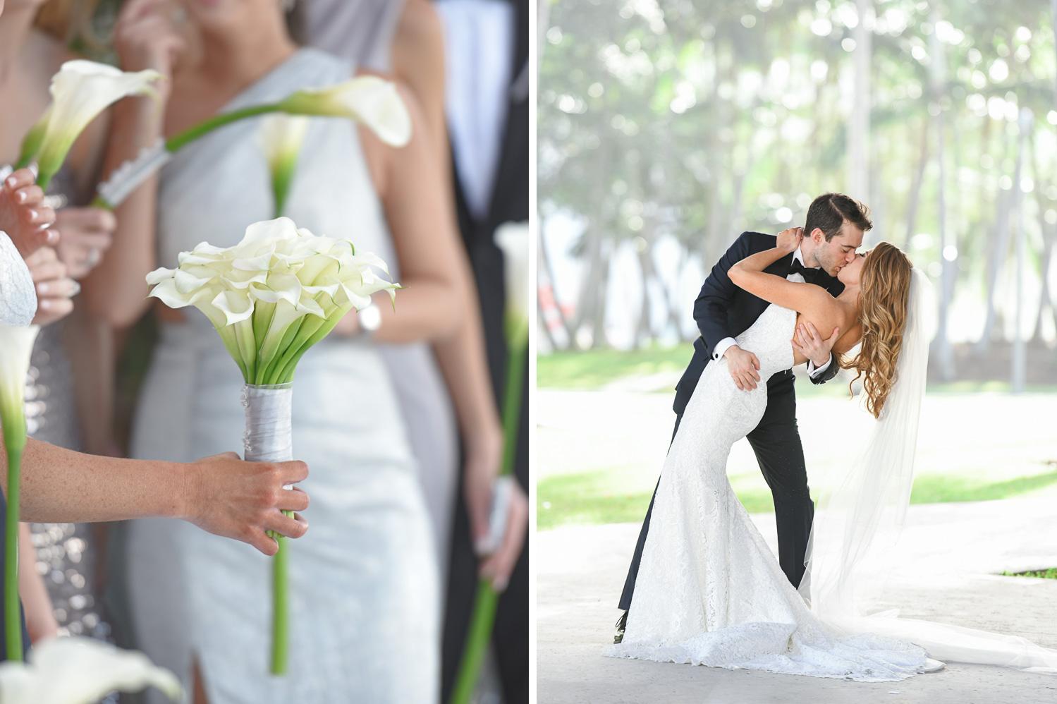 bride and groom at Tropical Luxury Wedding at Temple Emmanu-El in Miami Beach