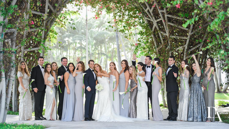 wedding party gang at Tropical Luxury Wedding at Temple Emmanu-El in Miami Beach