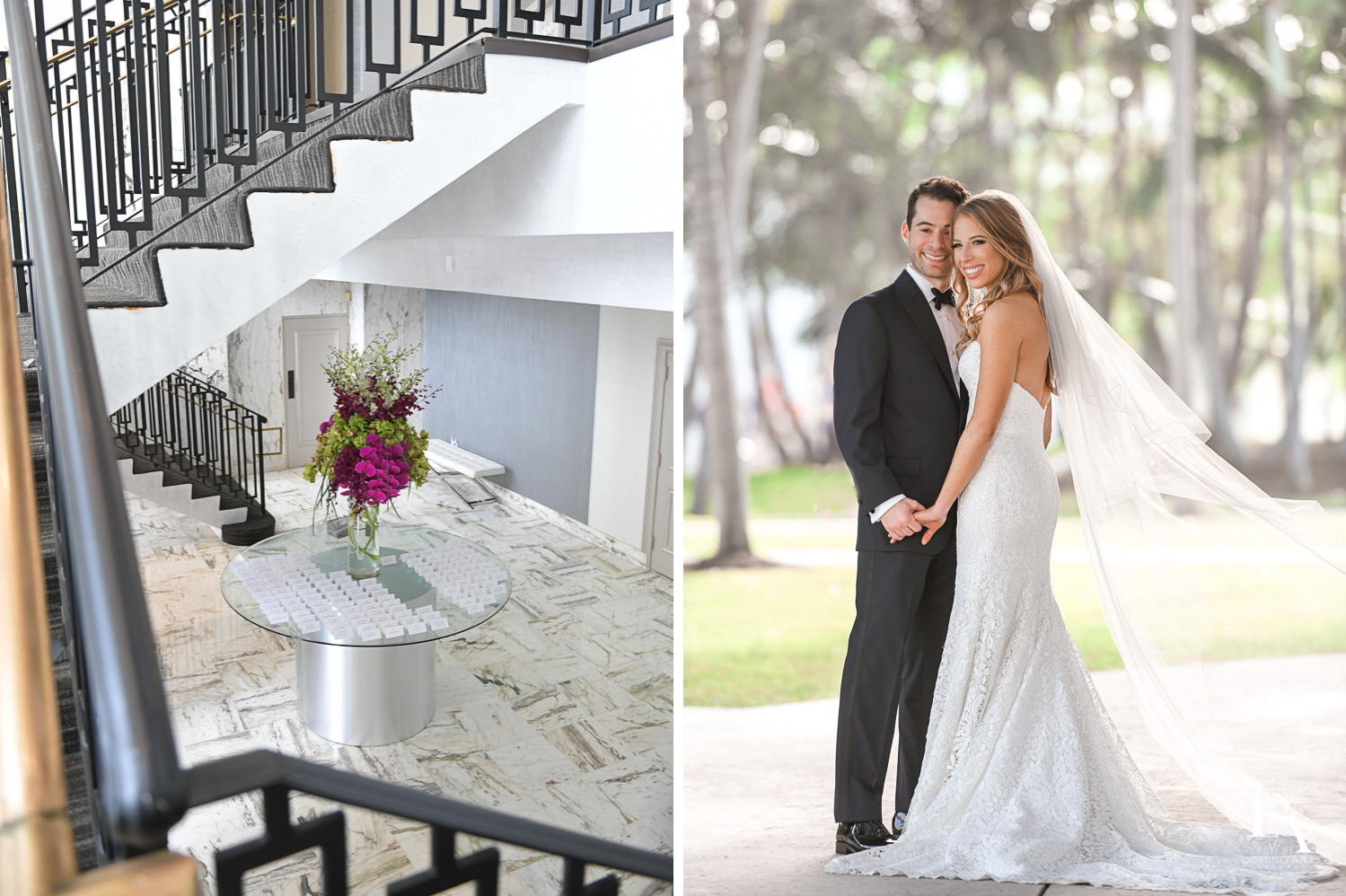 couple and details at Tropical Luxury Wedding at Temple Emmanu-El in Miami Beach