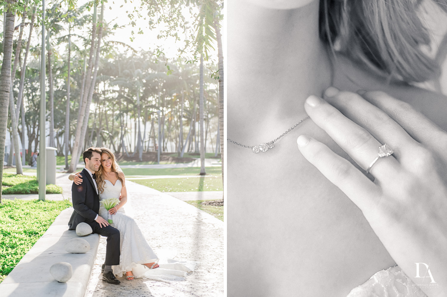 details and couple at Tropical Luxury Wedding at Temple Emmanu-El in Miami Beach