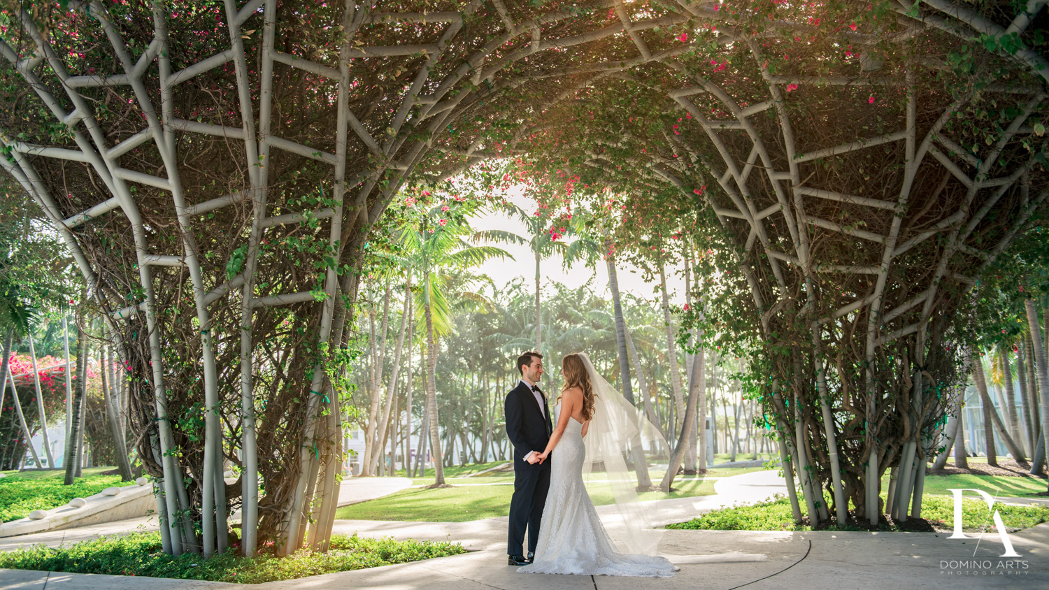 floral canopy at Tropical Luxury Wedding at Temple Emmanu-El in Miami Beach