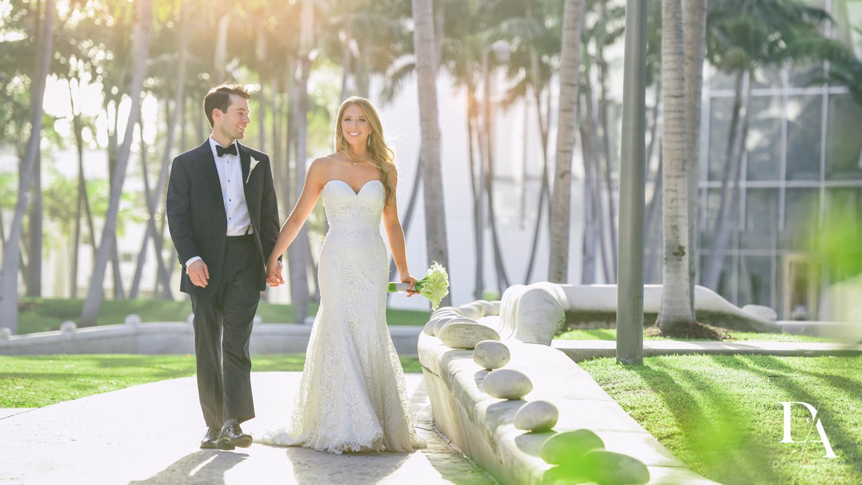 bride and grrom portrait at Tropical Luxury Wedding at Temple Emmanu-El in Miami Beach