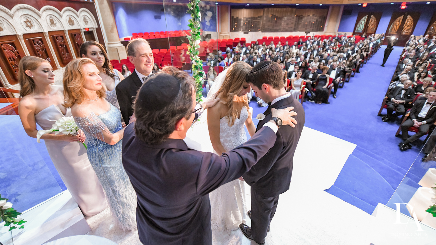 jewish blessing at Tropical Luxury Wedding at Temple Emmanu-El in Miami Beach